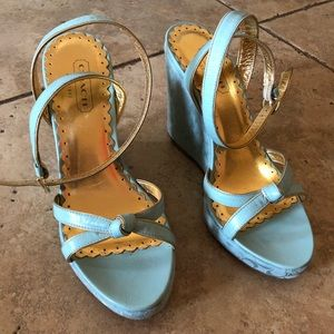 Tiffany Blue and Gold Coach Ankle Wrap Wedge Heels